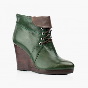 Women's green leather wedges