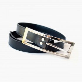 Men cowhide black buckle belt