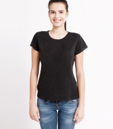 Daily black crew neck shirt, short sleeve crew neck
