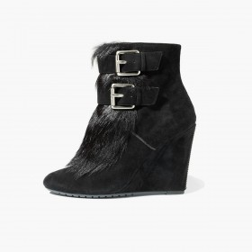 Women's faux fur wedges