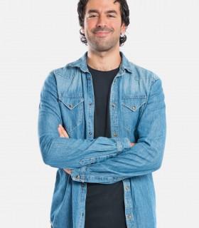 Blue long denim shirt jackets